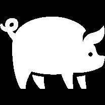 Icon eines Surspeck-Schweins mit Ringelschwänzchen.