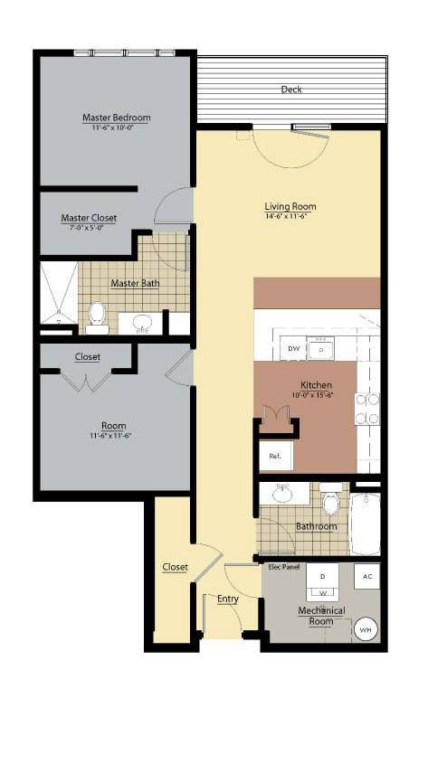 Butler Floor Plan at Doughboy Square Apartments