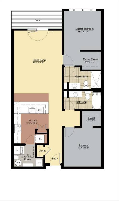 Allegheny Floor Plan at Doughboy Square Apartments