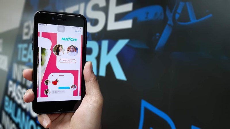 Dating app match shown on a smart phone