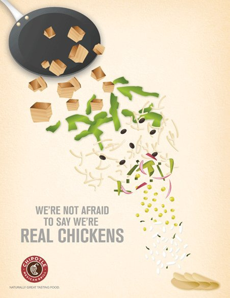 """Chipotle ad saying, """"We're not afraid to say we're real chickens"""