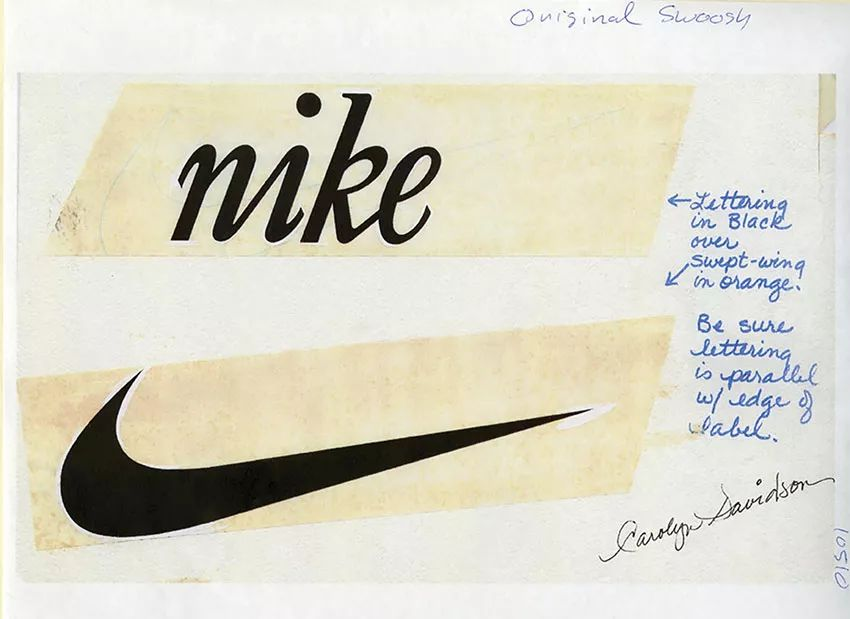Nike swoosh with notes by women designers Carolyn Davidson