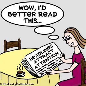 Cartoon of a woman reading the newspaper