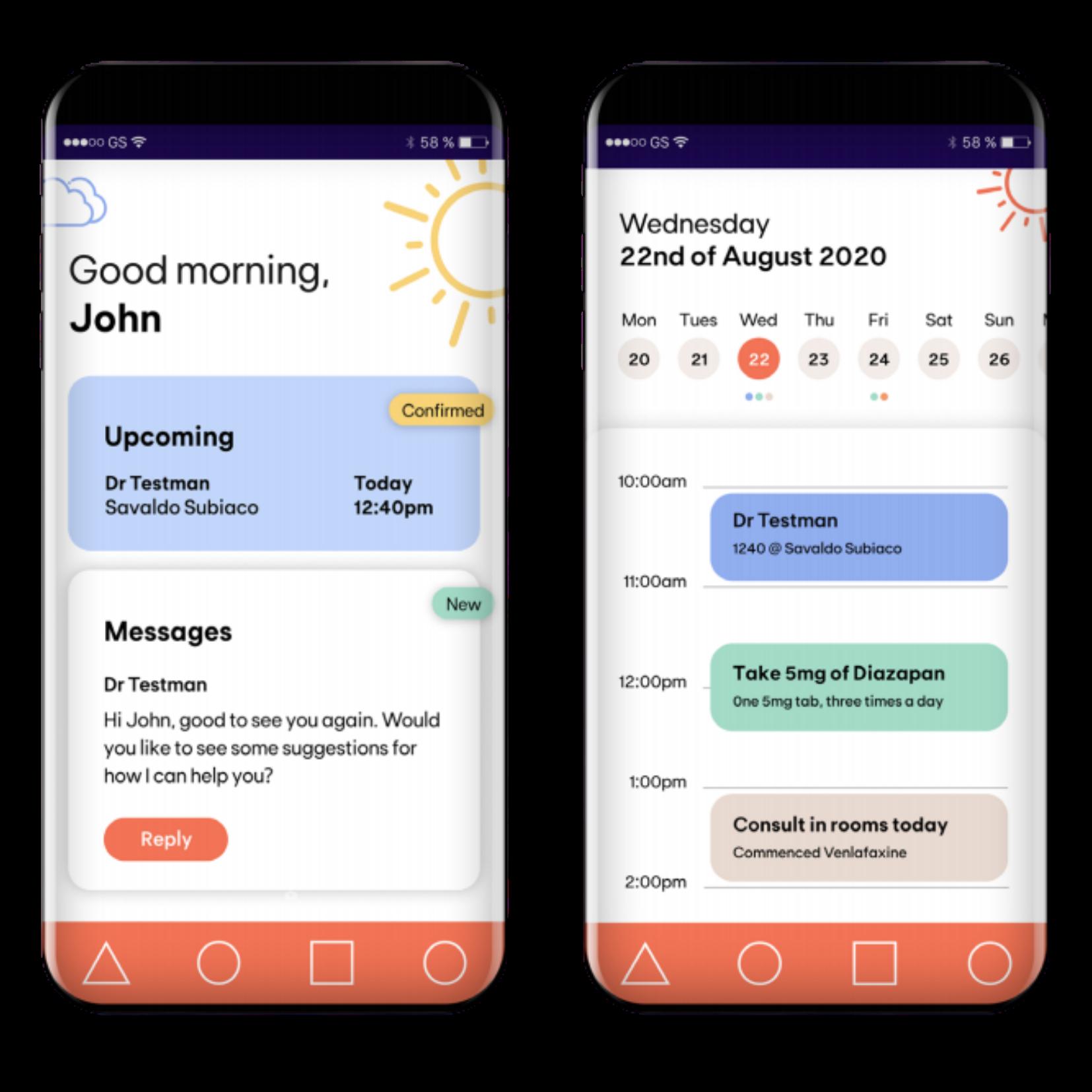 Oqea iPhone user interface