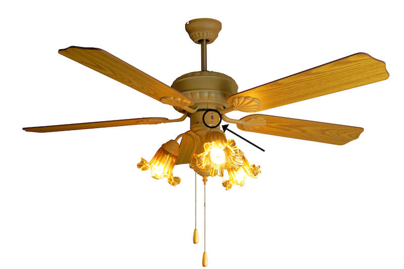 Lower Heating Costs with ceiling fan with arrow pointing to direction switch