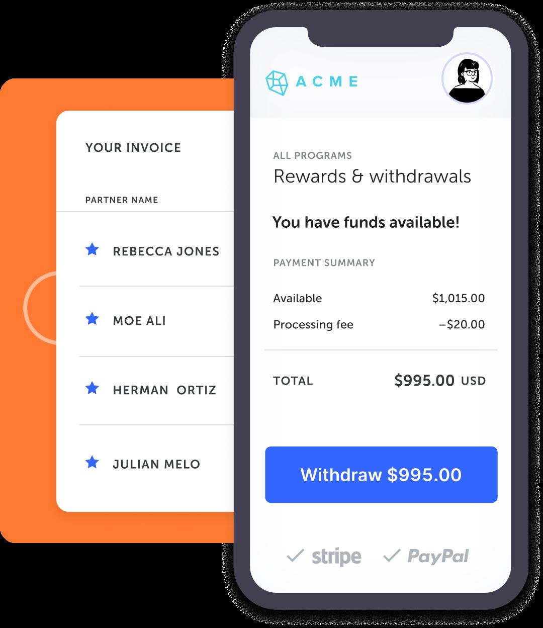 illustration of payout's UI