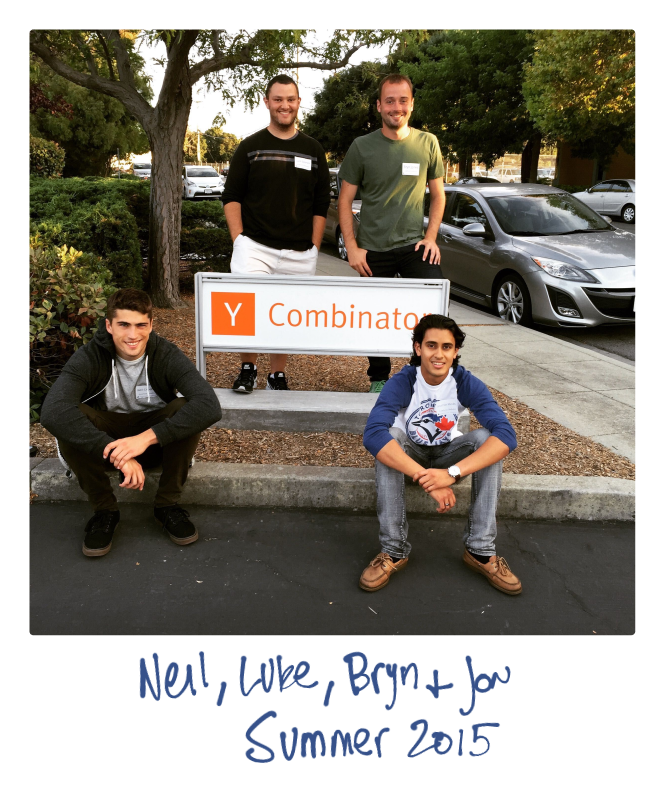 Photo of PartnerStack's founders, Luke, Bryn, Neil, and Jon in front of YCombinator sign