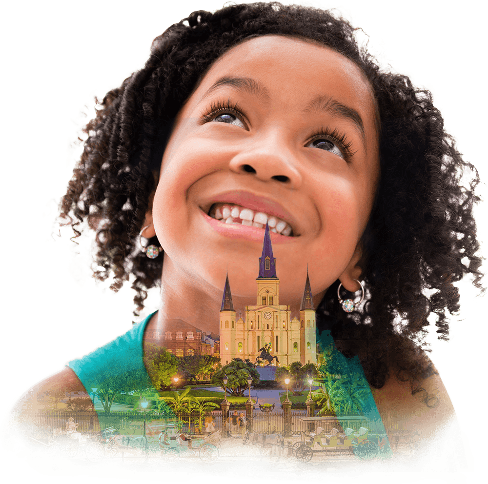 Collage of a smiling little girl and the St. Louis Cathedral.