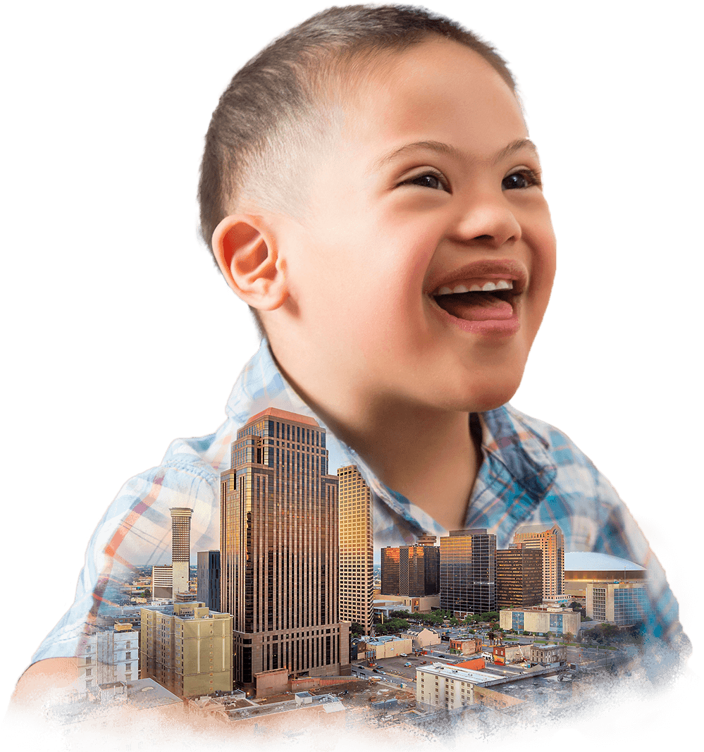 Collage of a joyful preschool Down Syndrome boy and Downtown New Orleans, Louisiana.