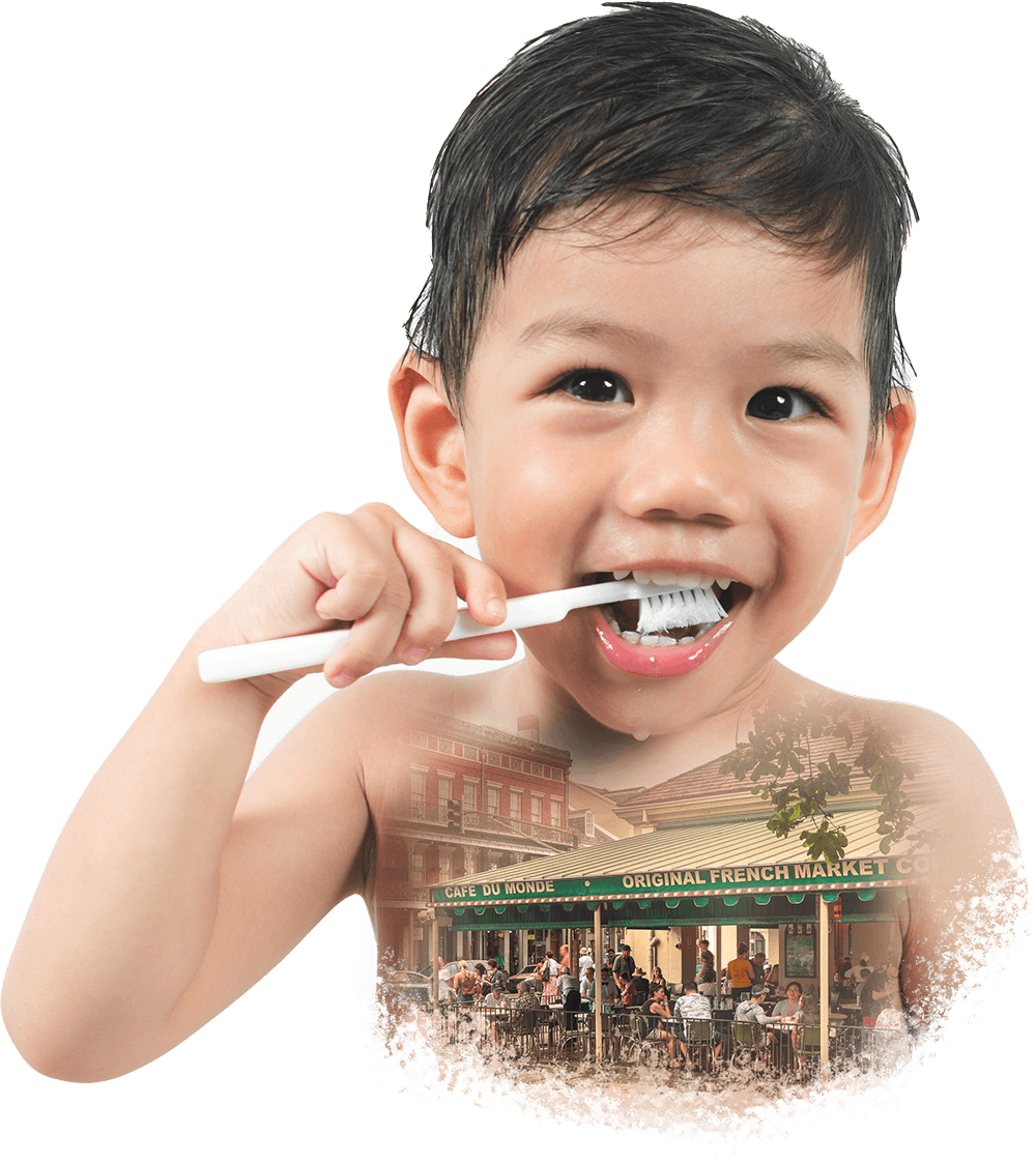 Collage of a little boy brushing his teeth and the world-famous Cafe du Monde in New Orleans.
