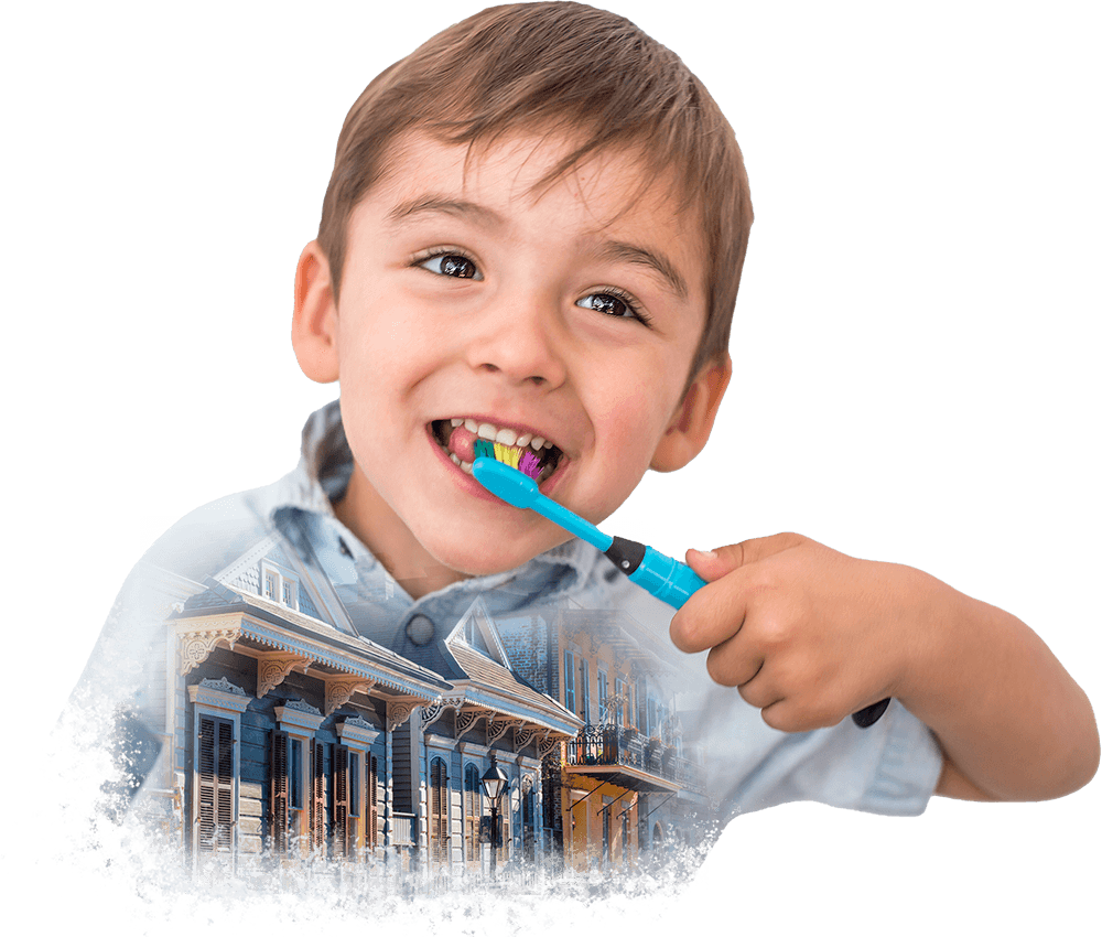 Collage of a smiley boy cleaning his teeth and ornate houses in the French Quarter of New Orleans, Louisiana.
