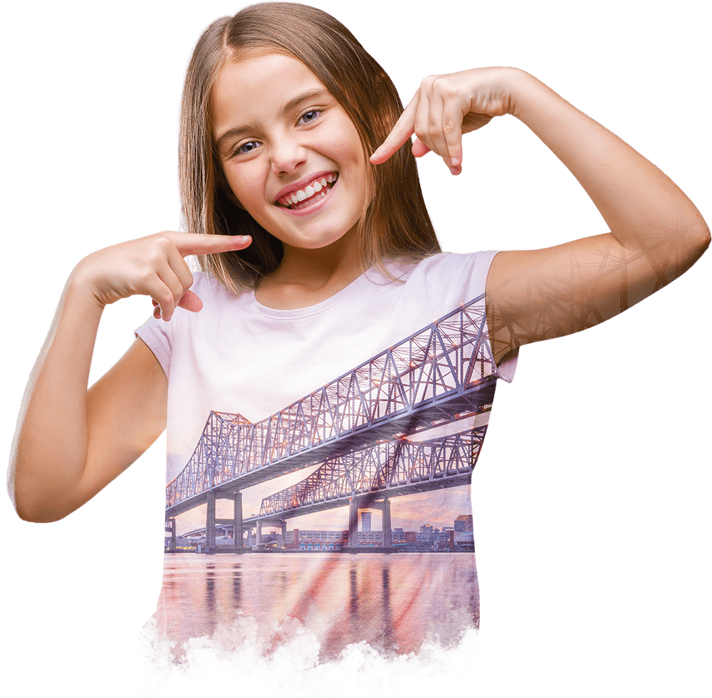 Collage of a young girl smiling, confidently pointing to her teeth and the Crescent City Connection Bridge in New Orleans, LA over the Mississippi River.