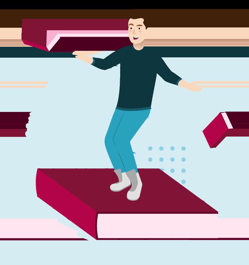 Man floating on a large book illustration.