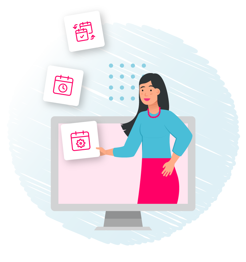 Woman on computer screen Cronofy product icons illustration.