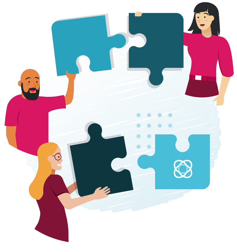 A group of people with puzzle pieces working together illustration.