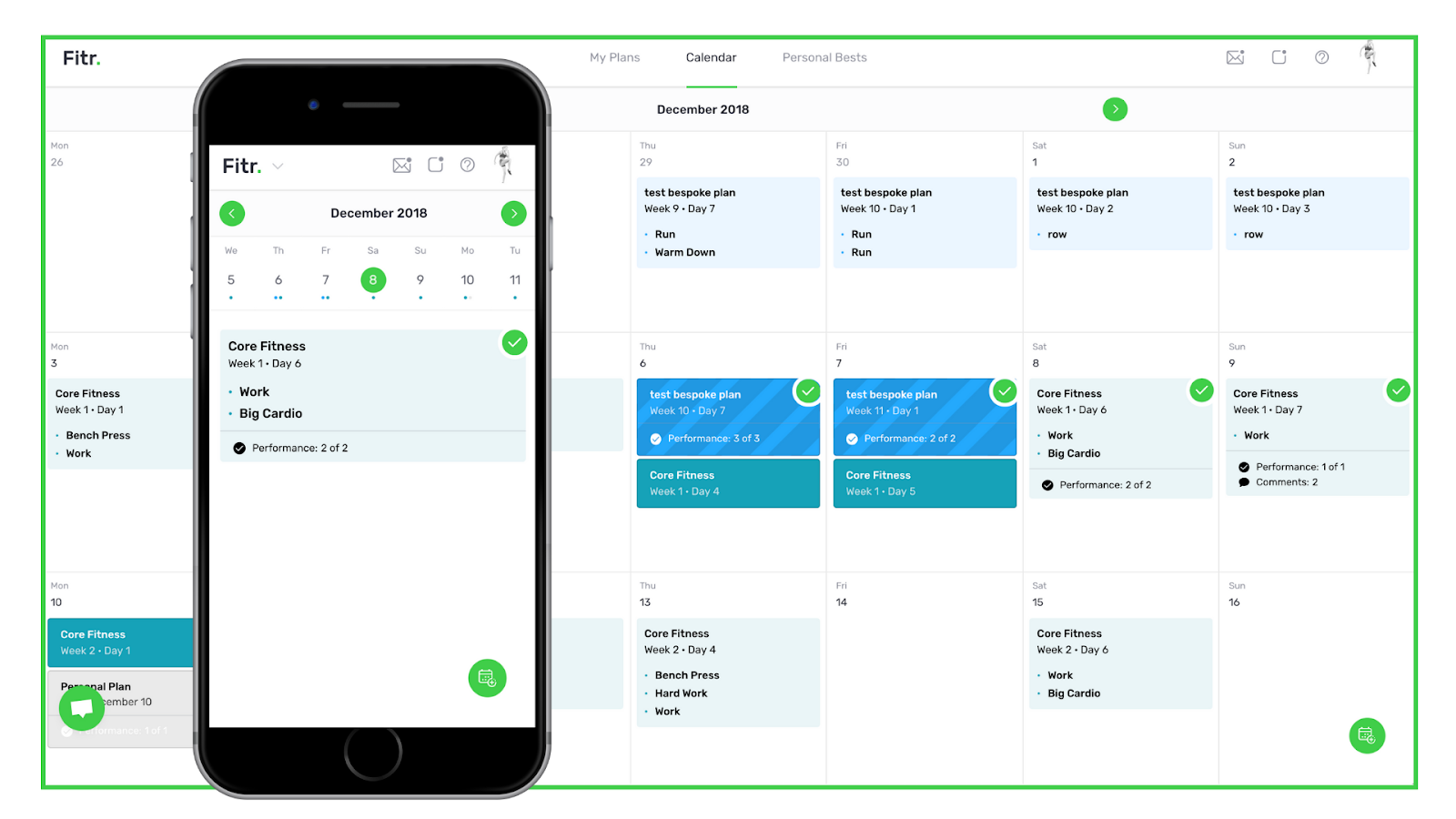 Screenshot of Fitr online fitness coaching platform