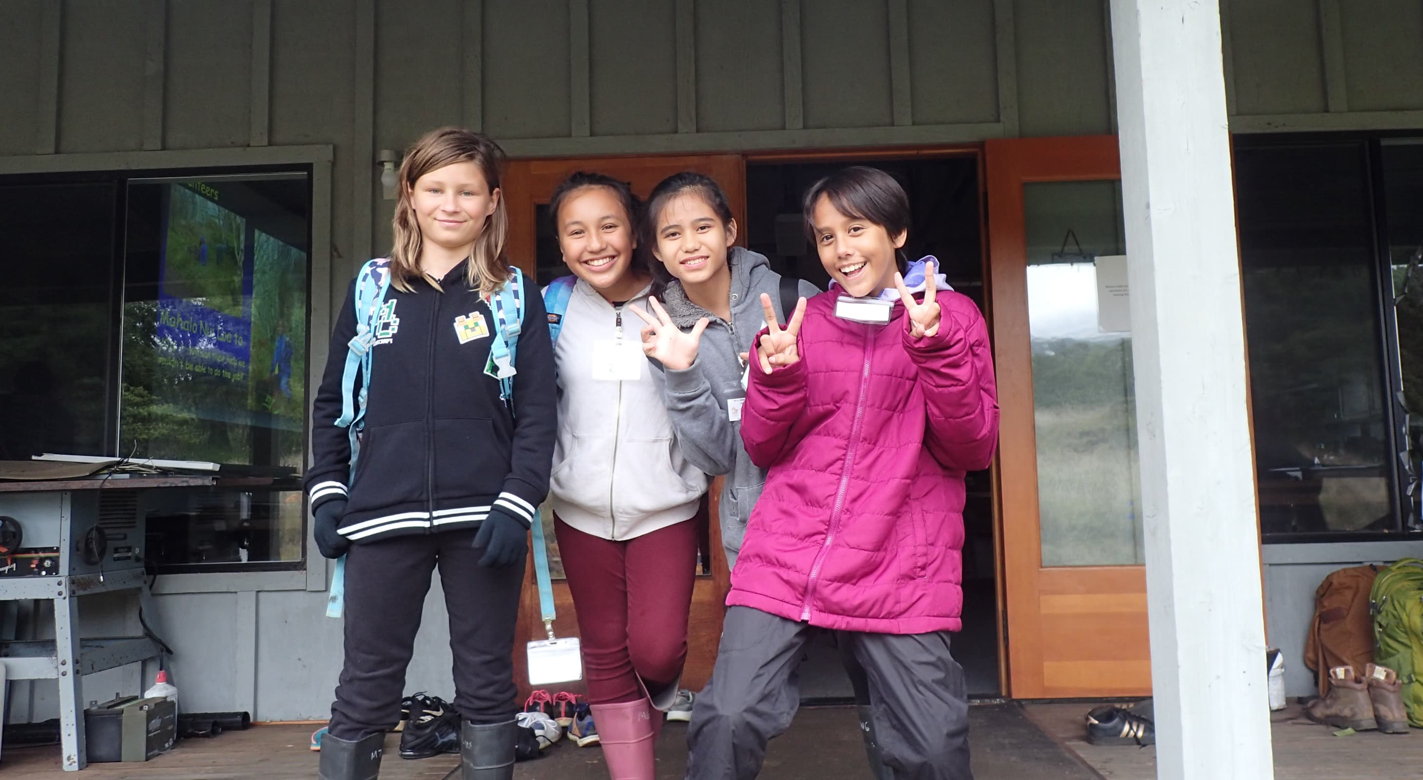 Group of students on the porch at the Hakalau Forest NWR