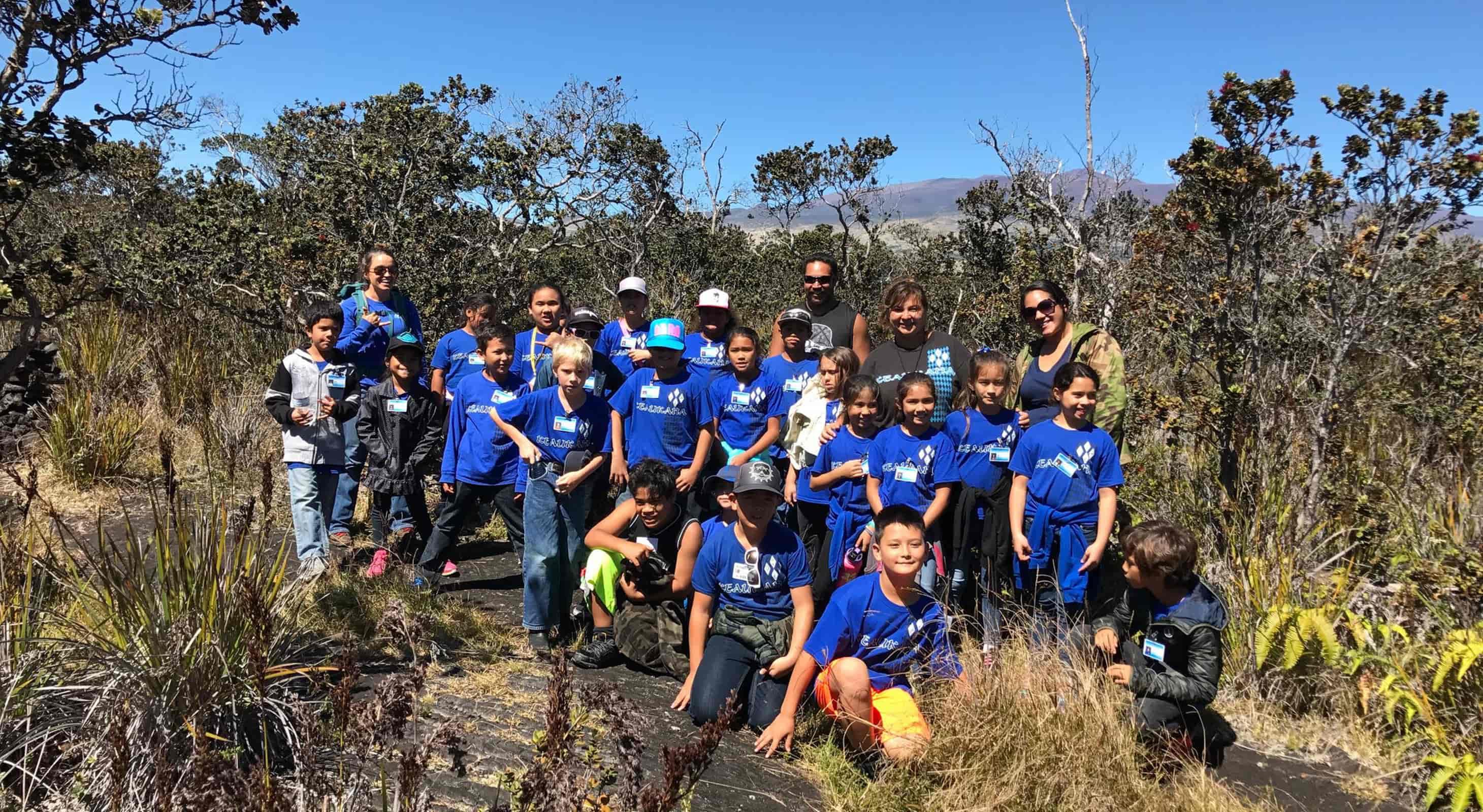 Group of students on the Kaumana trail
