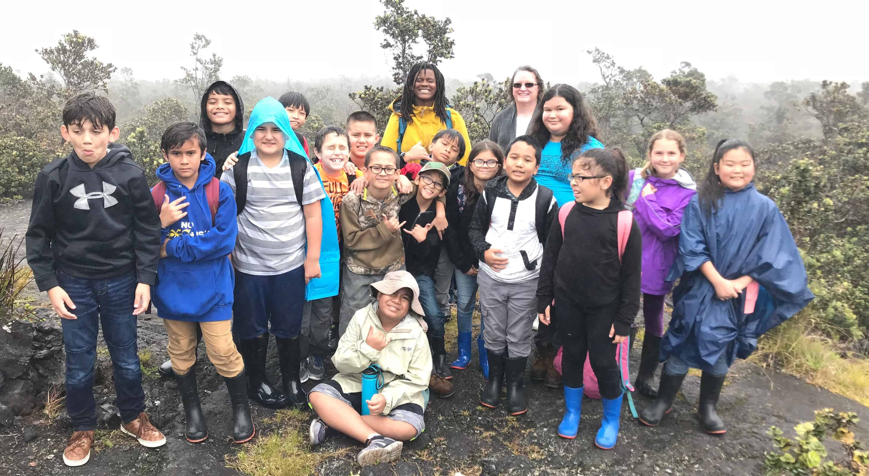 Group of students on Kaumana trail in the mist