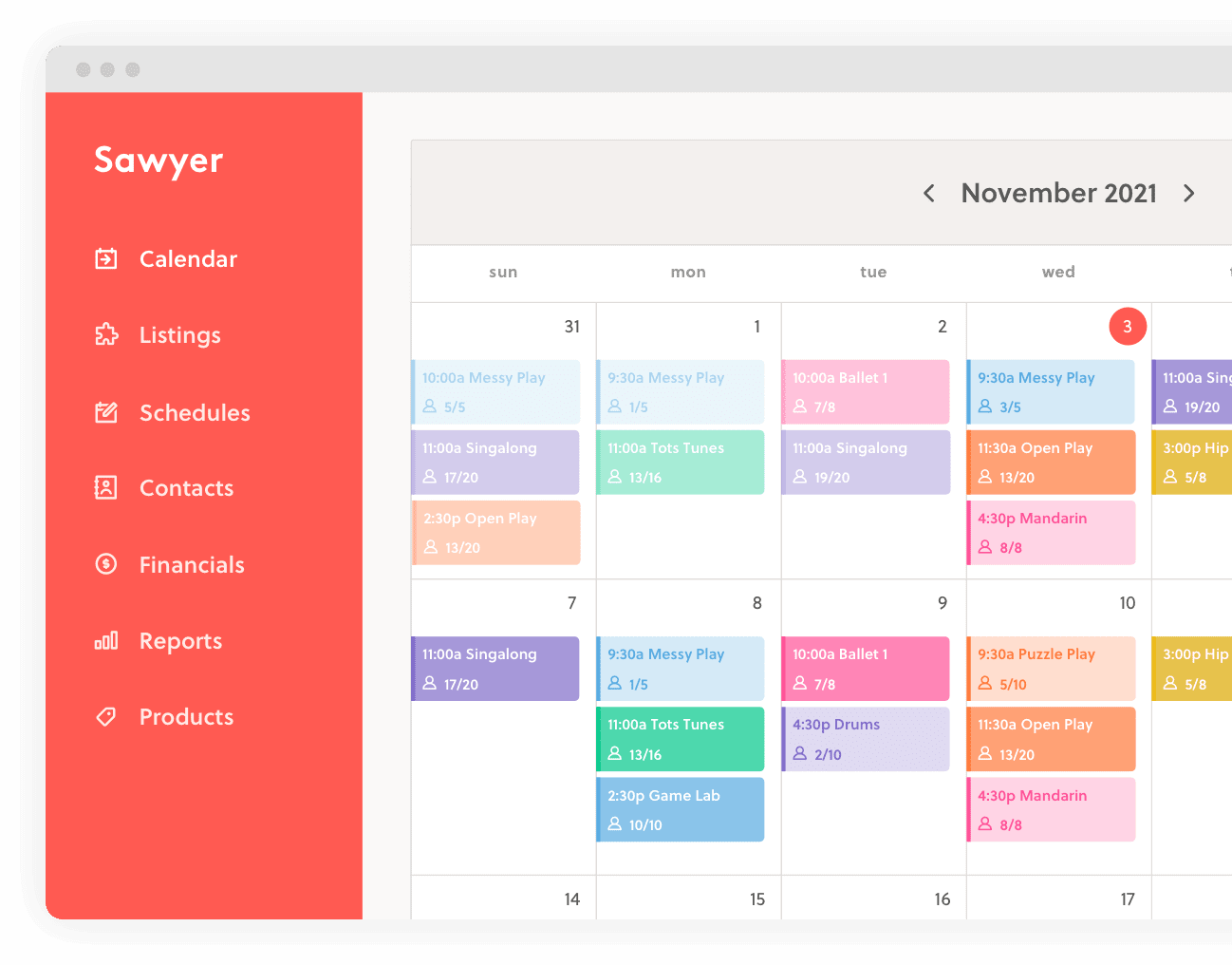 Sawyer for Business scheduling page