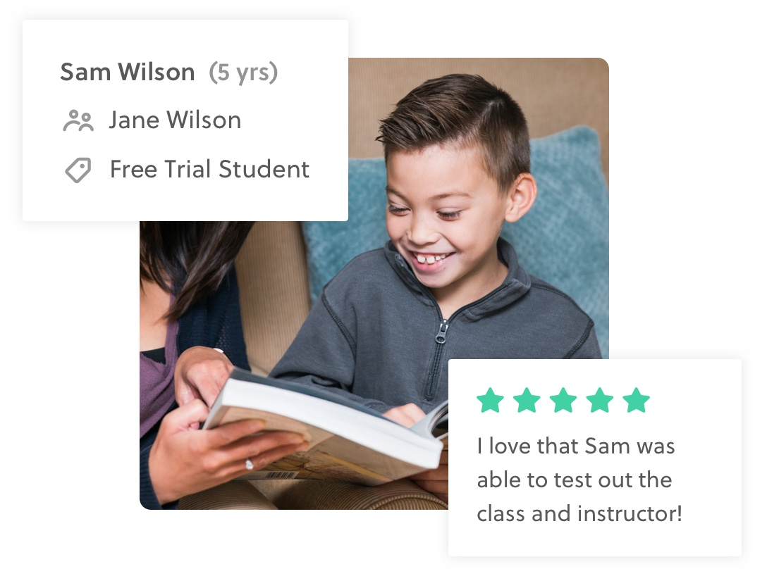 """Image showing a roster with a student marked as a Free Trial Student with a 5-star parent review """"I love that Sam was able to test out the class and instructor"""""""