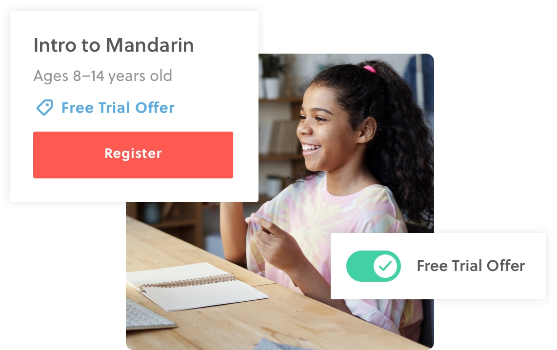 Image showing a free trial offer turned on for an Intro to Mandarin class.