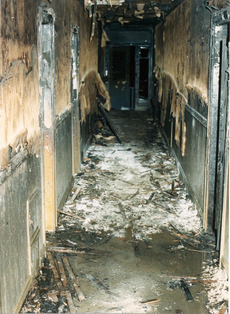 Third floor hallway of 1982 arson that killed seven and injured dozens more.
