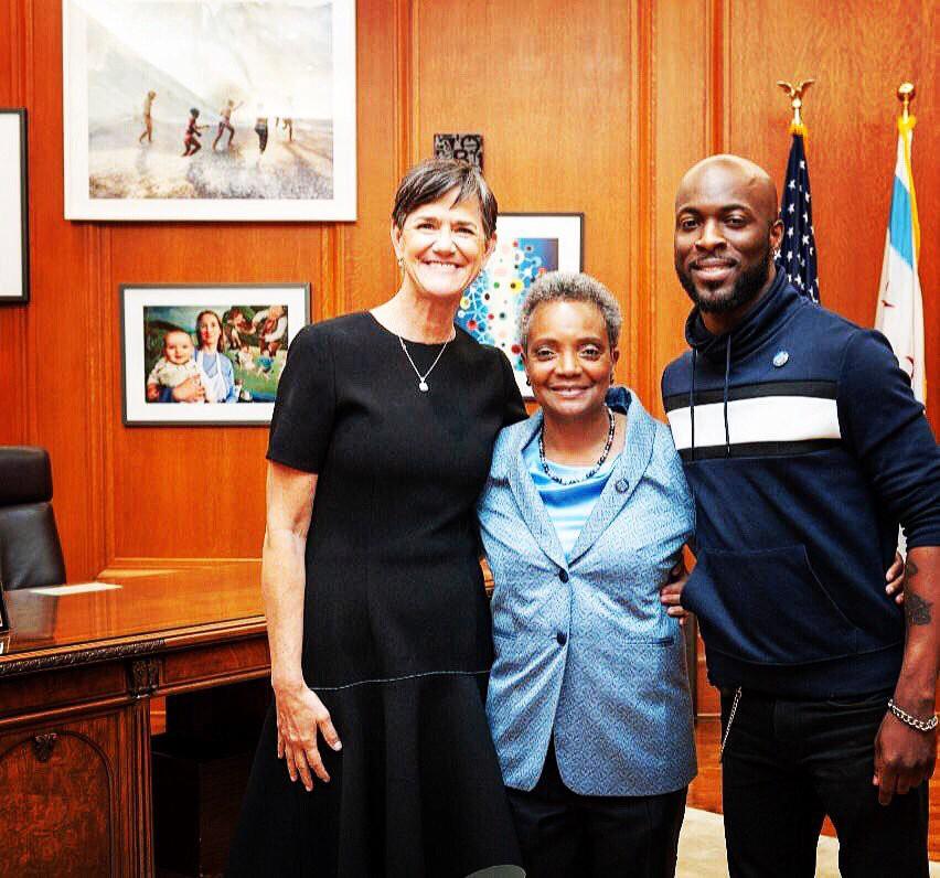 Amy Eshleman, Mayor Lori Lightfoot, and holy man Jedidiah Brown
