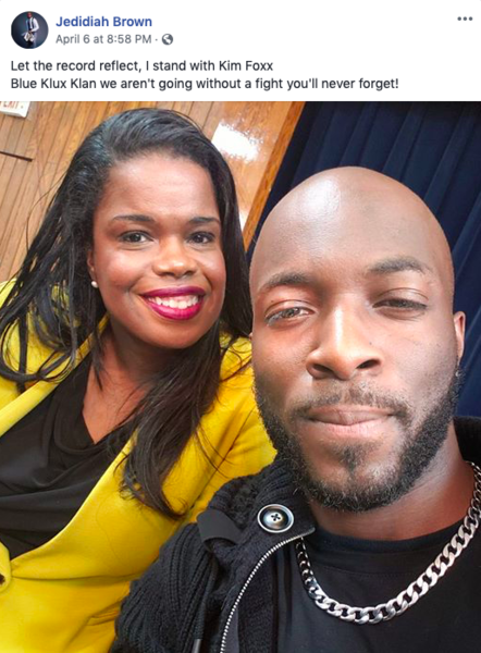 Thick as thieves: Kim Foxx posing for a selfie with anti-police agitator Jedidiah Brown