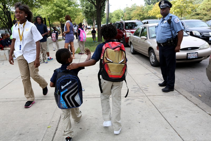 Chicago police officer protecting CPS students