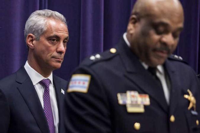 Mayor Rahm Emanuel and Chicago Police Superintendent Eddie Johnson