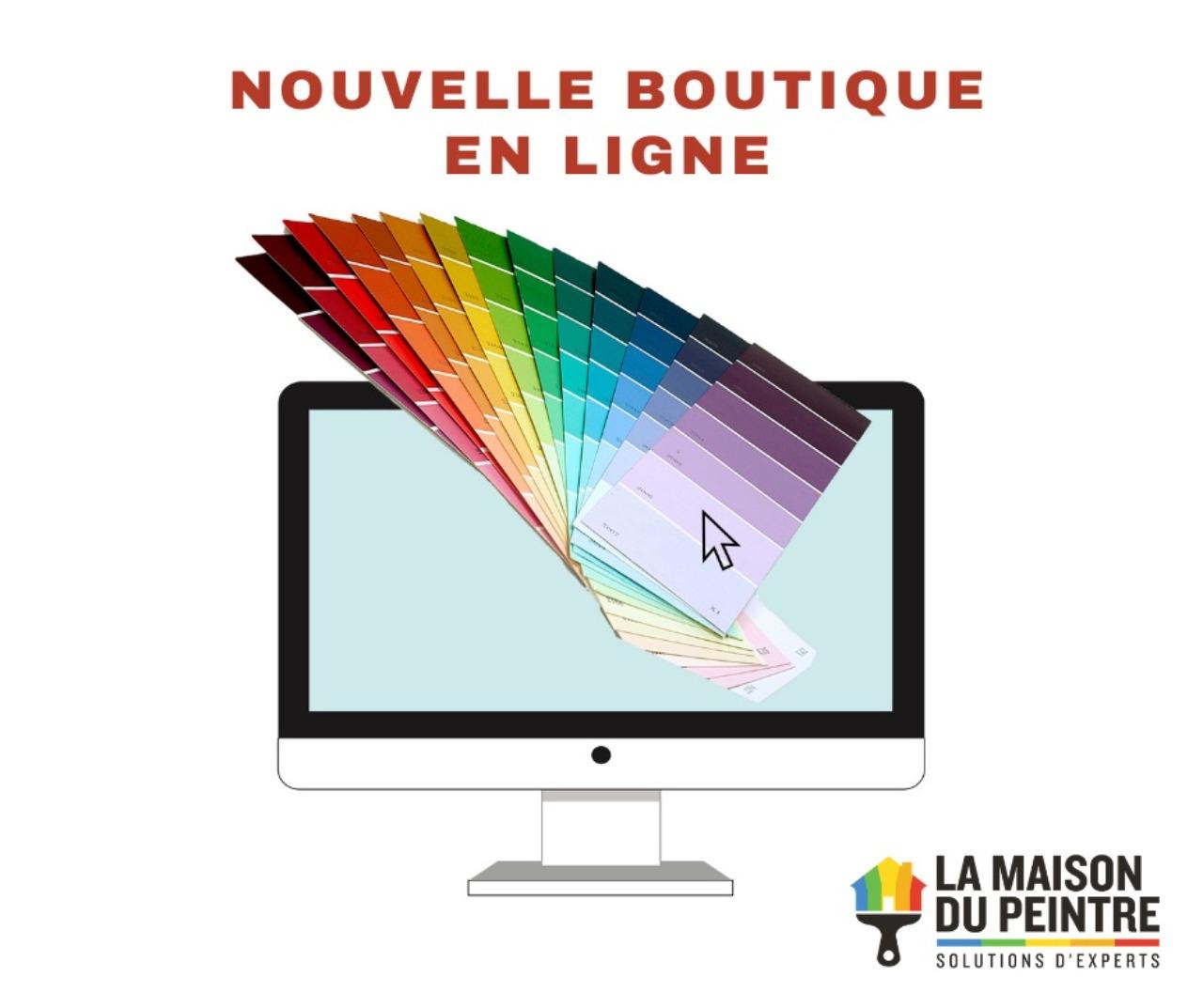 Image d'un écran avec un arc-en-ciel de couleurs et le logo de La Maison du Peintre pour Le Panier Bleu