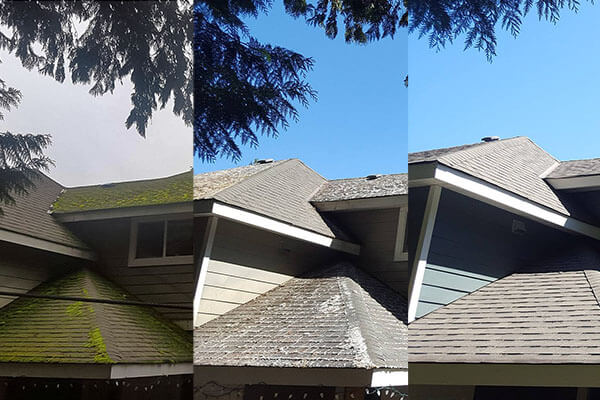 Before, during, and after of roof cleaning done by 99 Cleaning Solutions in Qualicum Beach, BC