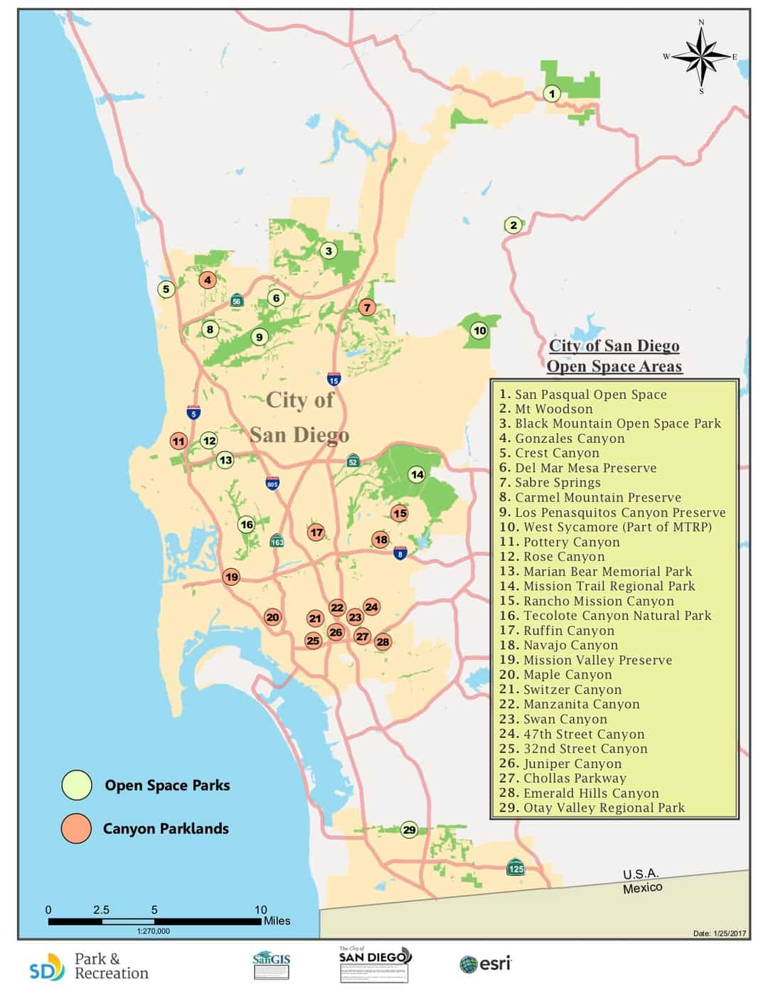 Map of Open Space Park Land