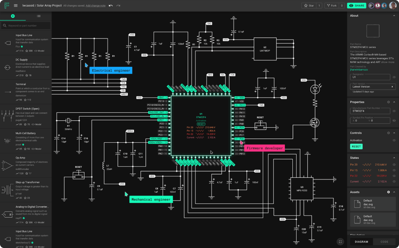 Showing a complex circuit on web browser. This is the screenshot of the actual Flux web app.
