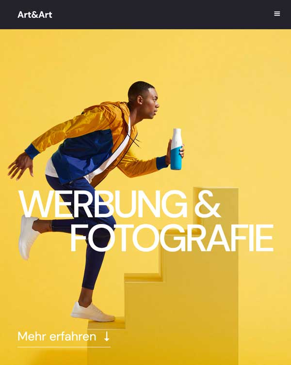 Website-Design Gelbes Bild mit Text