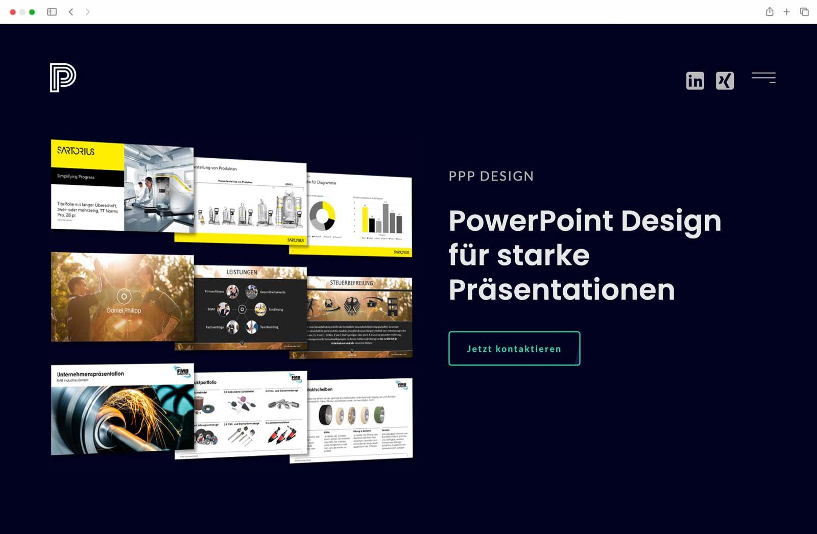 Website Startseite Powerpoint Präsentation PPP Design