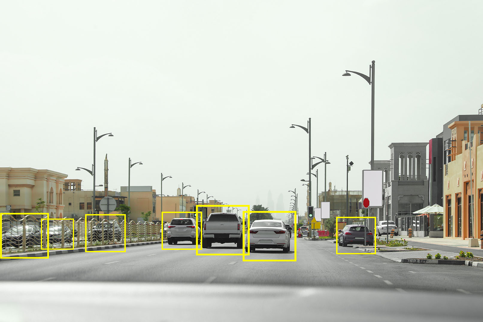 Example image of what a monocular with inferencing can detect while driving