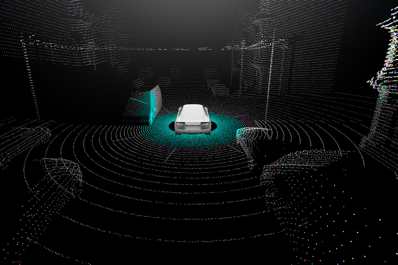 Example image of what lidar can detect around a car