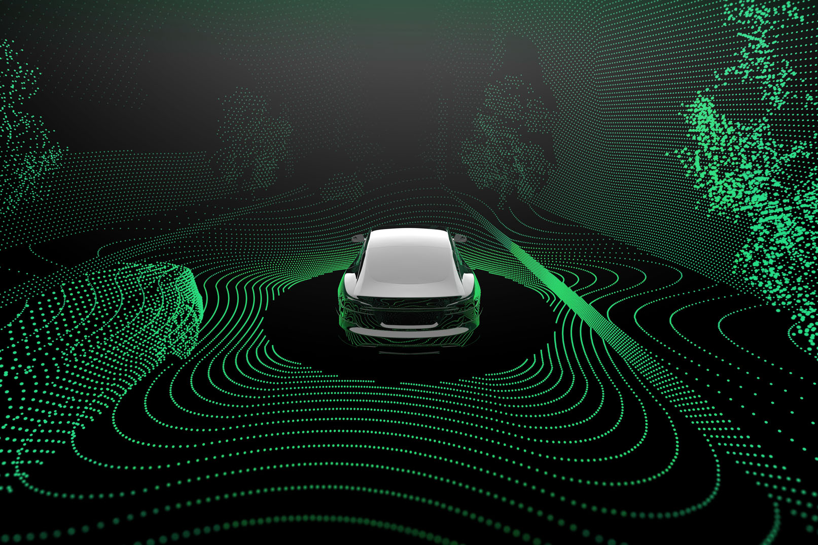Example image of what radar can detect around a car