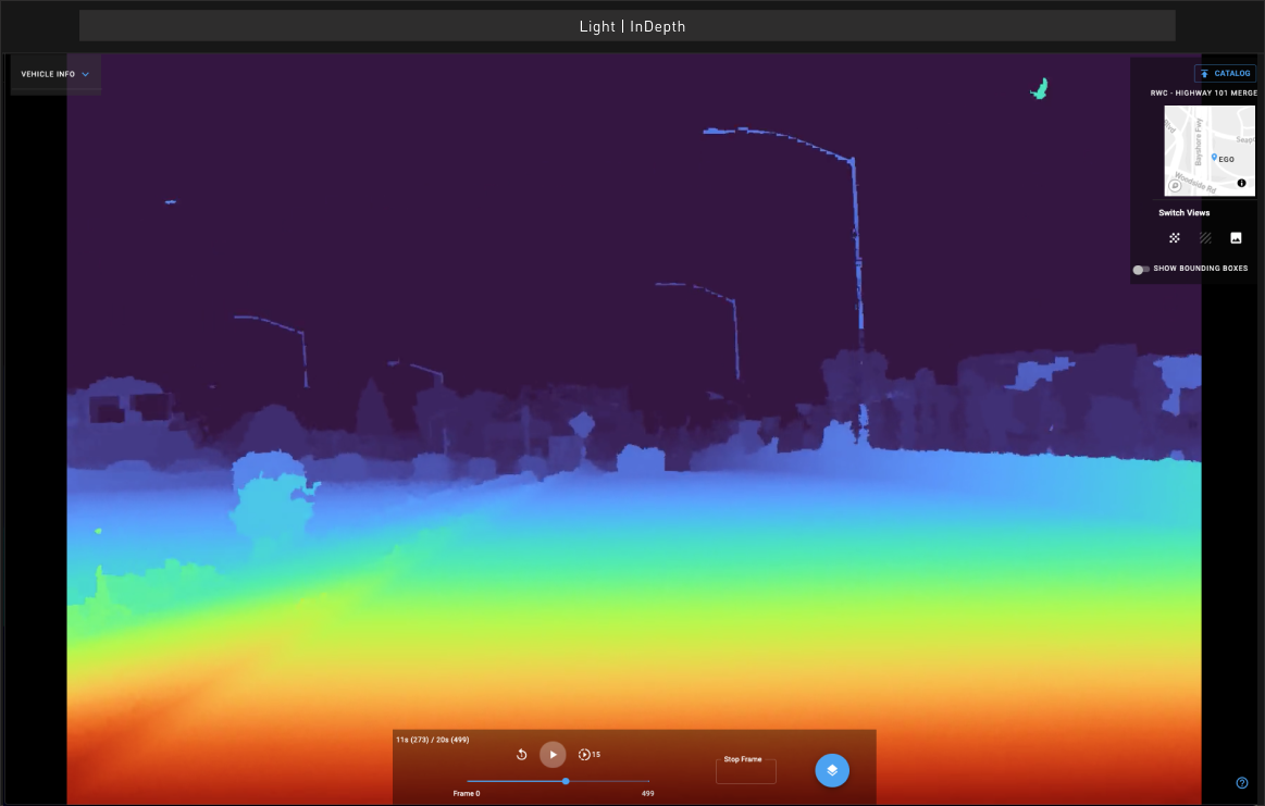 screenshot of light's depth mapping software in heat map view