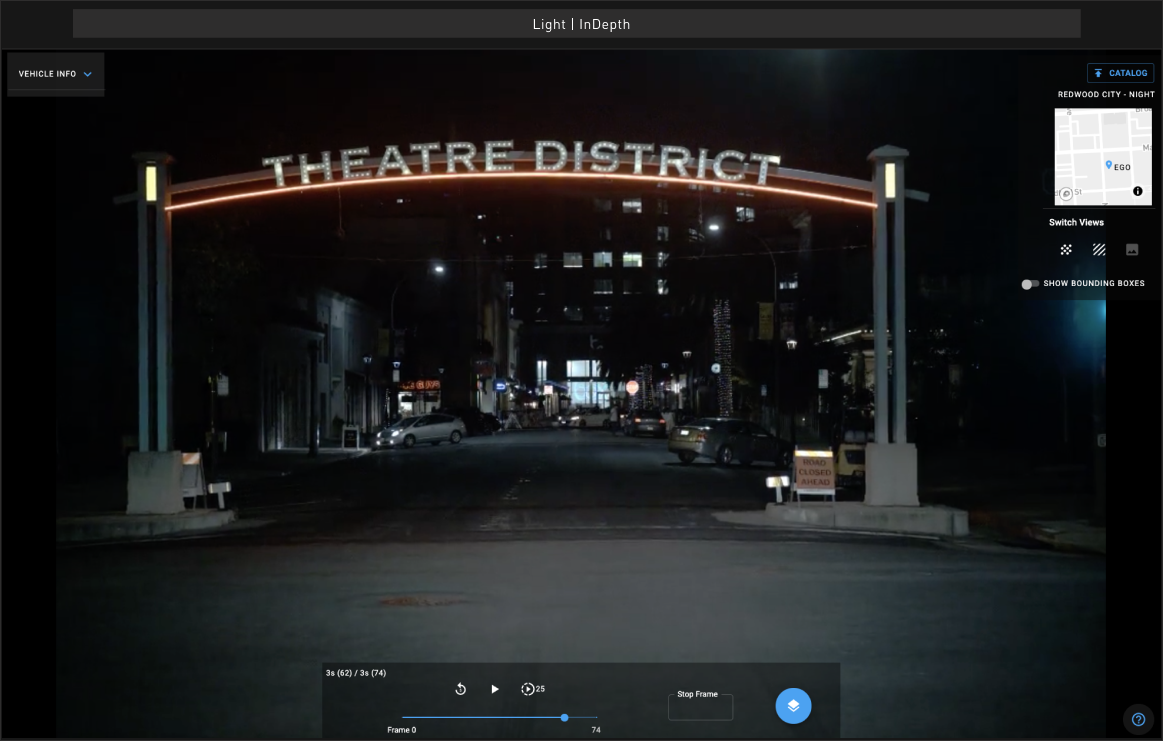 Screenshot of light's depth mapping software in live view