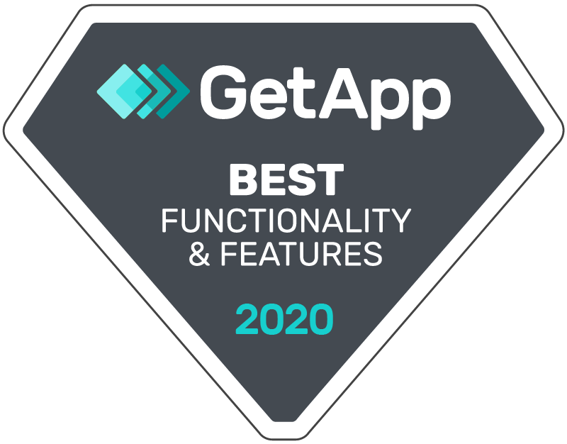 GetApp Best Functionality and Features 2020 badge