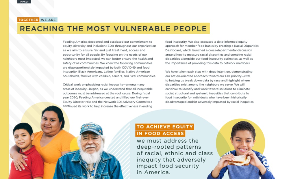 Feeding America uses high quality images in their annual report