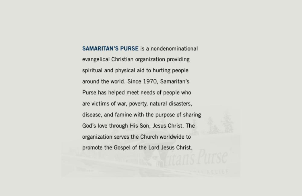 Samaritan's Purse communicates their mission in their annual report