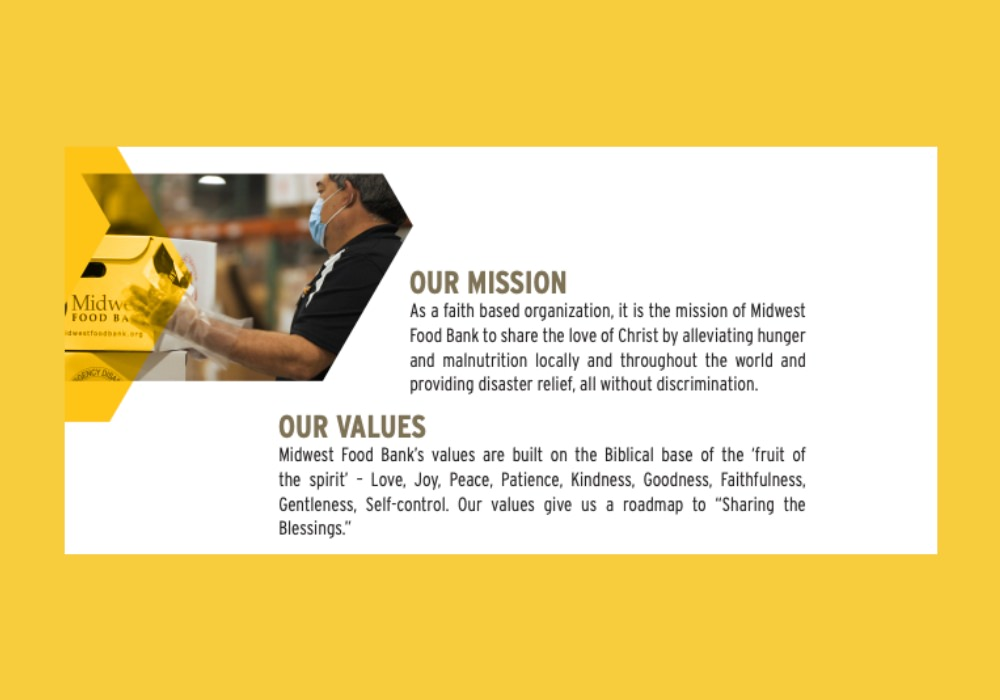 Midwest Food Bank clearly communicates their mission in their annual report