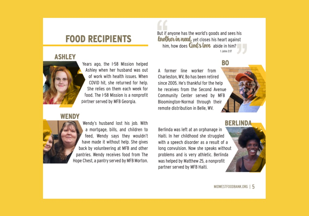 Midwest Food Bank uses social proof in their annual report