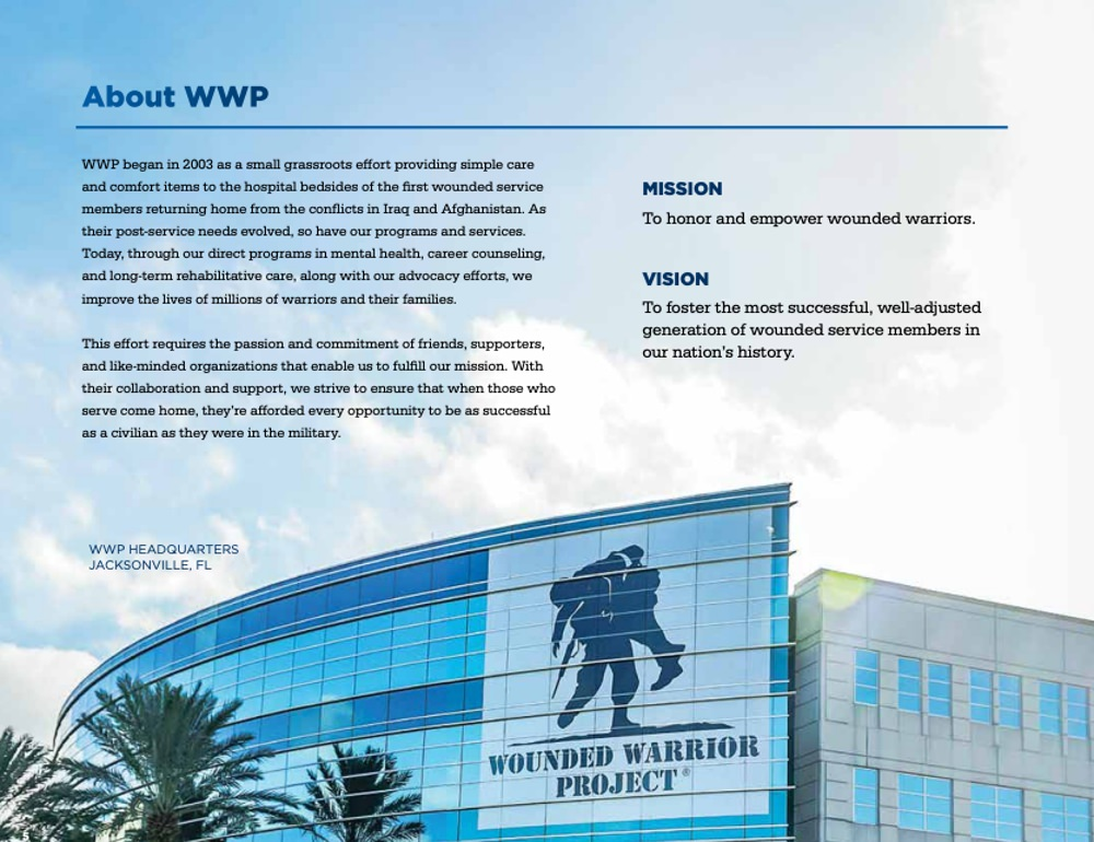 Wounded Warrior Project clearly communicates their mission in their annual report