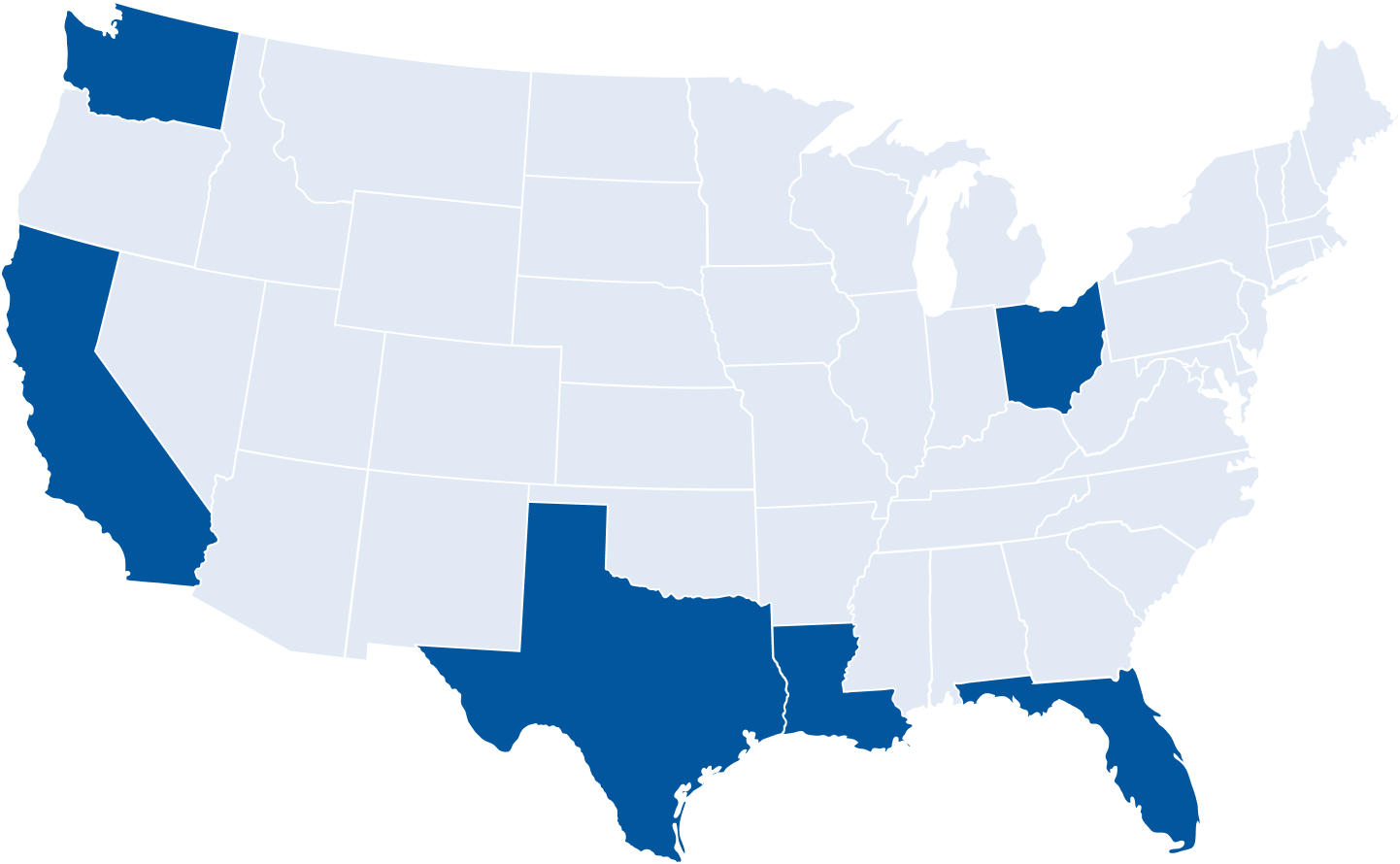 Map of the US with highlighted states