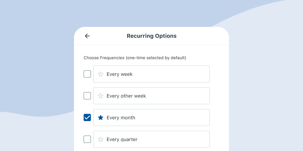 Recurring giving is easy